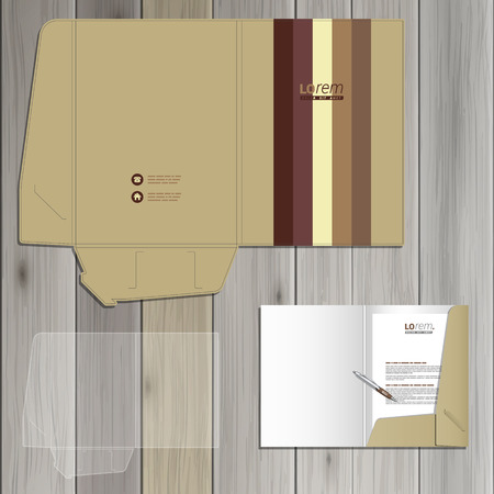 style template: Old style folder template design for corporate identity with vertical stripes. Stationery set