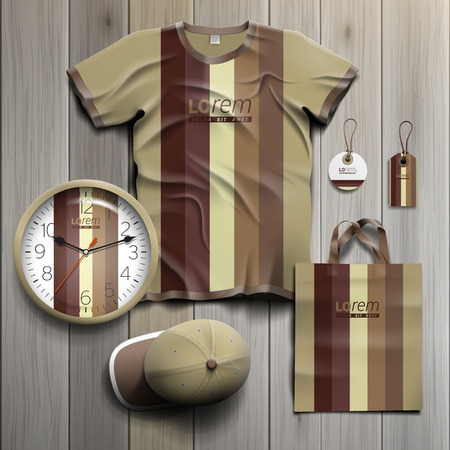 souvenirs: Old style promotional souvenirs design for corporate identity with vertical stripes. Stationery set Illustration