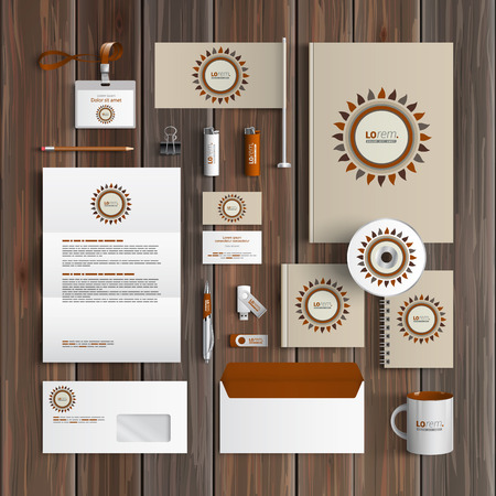 corporate identity template: Folk corporate identity template design with flower. Business stationery