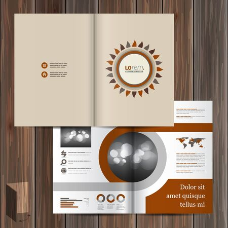 catalog templates: Folk brochure template design with flower. Cover layout