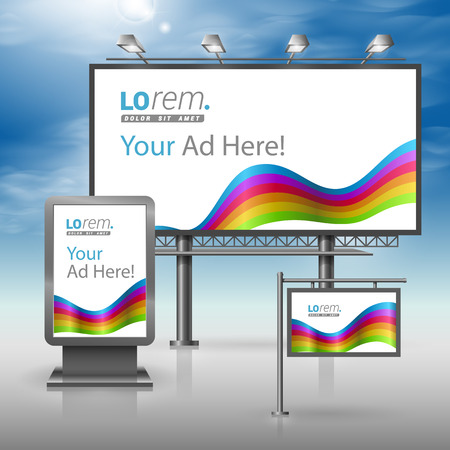 outdoor advertising: Color outdoor advertising design for corporate identity with rainbow stripes. Stationery set