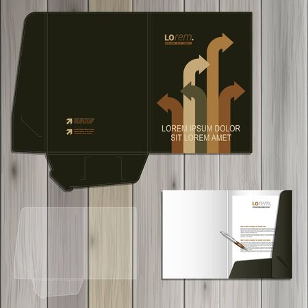 different directions: Black folder template design for corporate identity with arrows in different directions. Stationery set Illustration