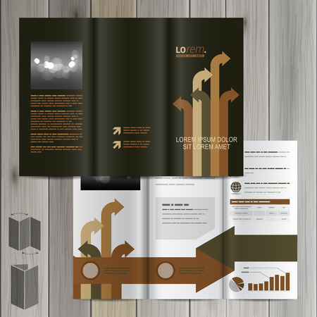 different directions: Black brochure template design with arrows in different directions. Cover layout