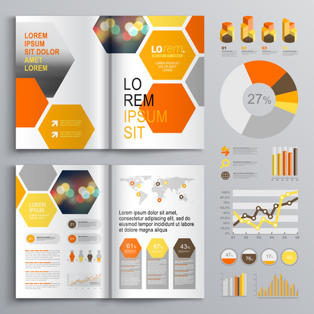 yellow orange: White geometric brochure template design with orange and yellow honeycombs. Cover layout and infographics Illustration