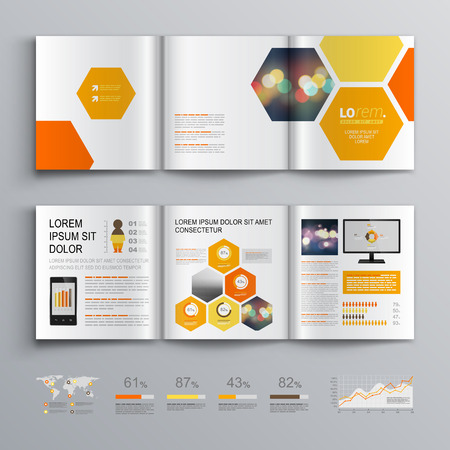 join: White geometric brochure template design with orange and yellow honeycombs. Cover layout and infographics Illustration