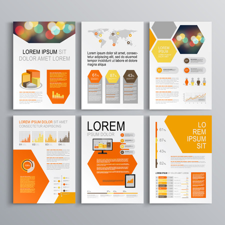 magazine layout design template: White geometric brochure template design with orange and yellow honeycombs. Cover layout and infographics Illustration