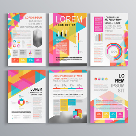 business presentation: White creative brochure template design with color pattern of triangles. Cover layout and infographics