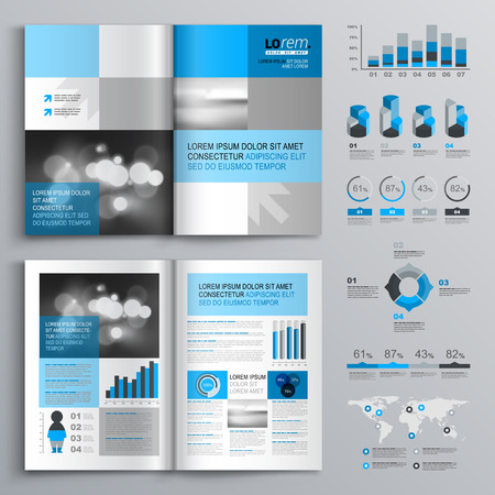 Classic brochure template design with blue and gray shapes. Cover layout and infographics Illustration