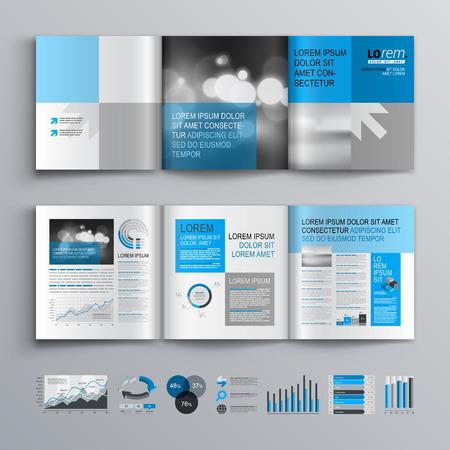 ブルーやグレーの図形に古典的なパンフレット テンプレート デザイン。レイアウトとインフォ グラフィックをカバーします。
