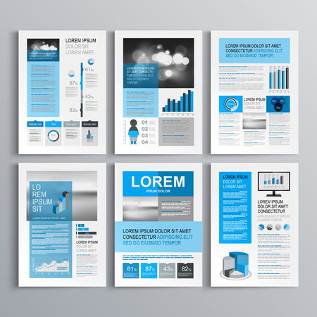 Classic brochure template design with blue and gray shapes. Cover layout and infographics 版權商用圖片 - 42763258