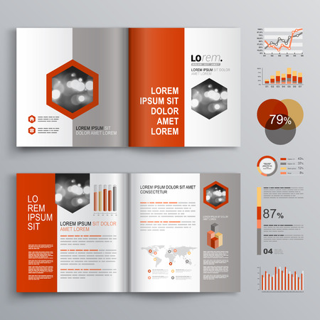 business chart: Classic white brochure template design with red and gray shapes. Cover layout and infographics