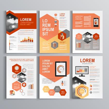 빨간색과 회색 모양과 클래식 화이트 브로셔 템플릿 디자인. 표지 레이아웃과 infographics입니다