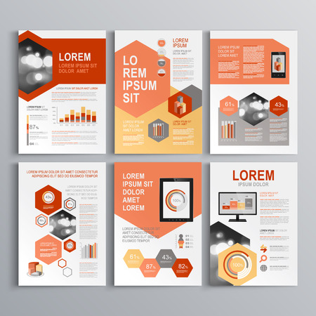 Classic white brochure template design with red and gray shapes. Cover layout and infographics