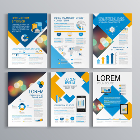 editable: Geometric brochure template design with blue and orange square elements. Cover layout and infographics