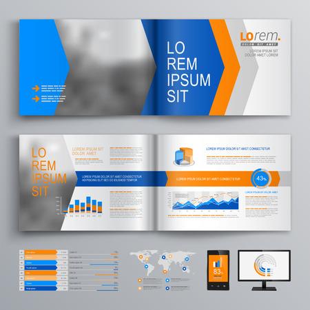 folleto: Diseño del modelo del folleto dinámico con flechas azules y naranjas. Diseño de la cubierta y la infografía