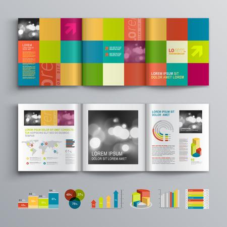 図形を色分けすると創造的なパンフレットのテンプレート デザイン。レイアウトとインフォ グラフィックをカバーします。  イラスト・ベクター素材