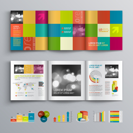 Creative brochure template design with color shapes. Cover layout and infographics