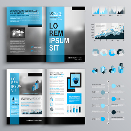 covers: Classic brochure template design with blue shapes. Cover layout and infographics
