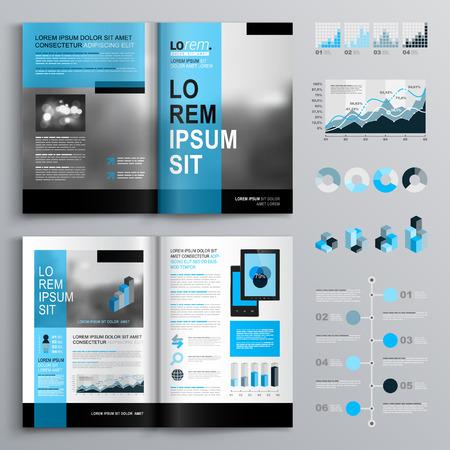 carpetas: Diseño del modelo del folleto clásico con formas azules. El diseño de la cubierta y la infografía