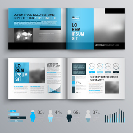 Classic brochure template design with blue shapes. Cover layout and infographics