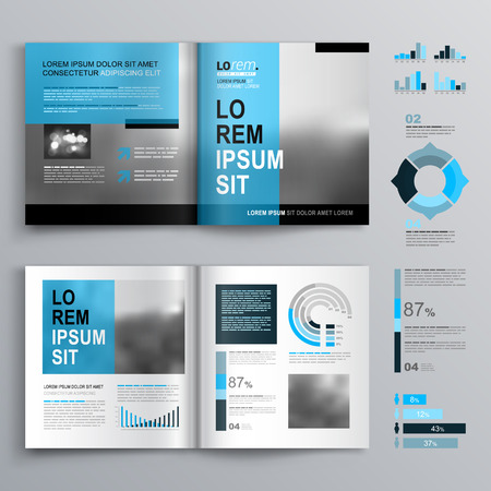 icons set: Classic brochure template design with blue shapes. Cover layout and infographics