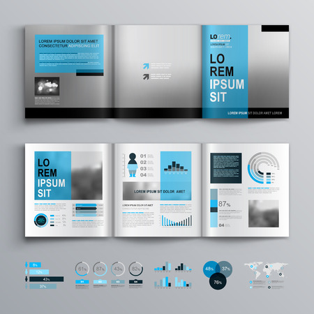 catalog templates: Classic brochure template design with blue shapes. Cover layout and infographics