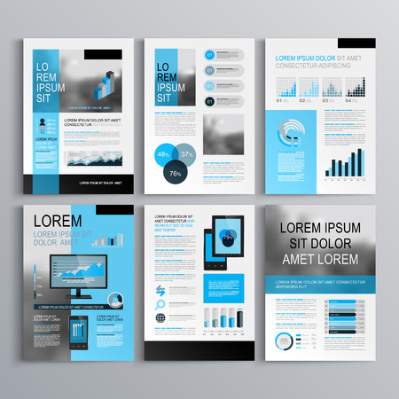 icons business: Classic brochure template design with blue shapes. Cover layout and infographics