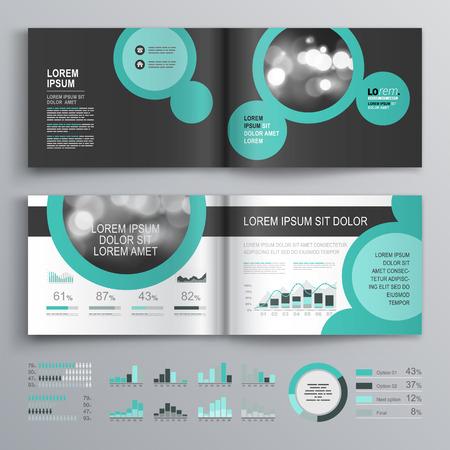 丸い緑の要素を持つ黒いパンフレット テンプレート デザイン。レイアウトとインフォ グラフィックをカバーします。
