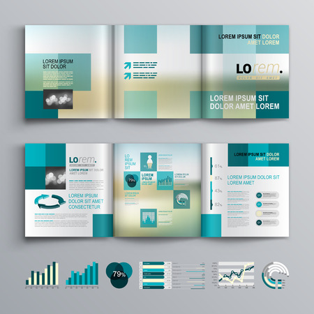 business flyer: Blue brochure template design with square shapes. Cover layout and infographics