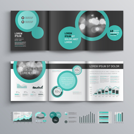 booklet: Black brochure template design with round green elements. Cover layout and infographics