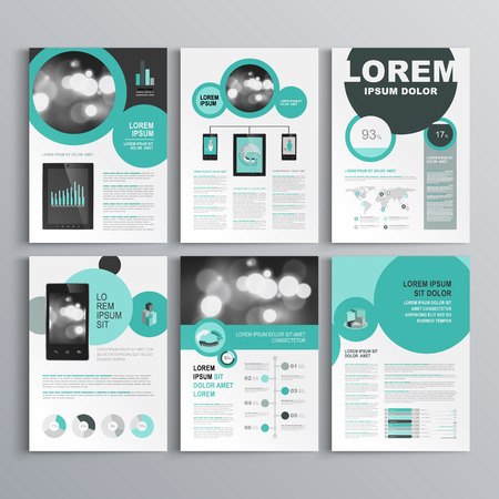 Black brochure template design with round green elements. Cover layout and infographics