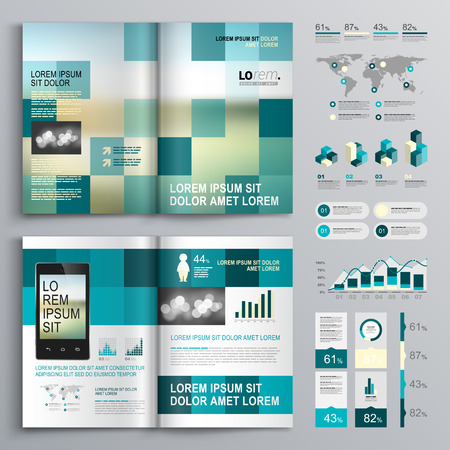Blue brochure template design with square shapes. Cover layout and infographics