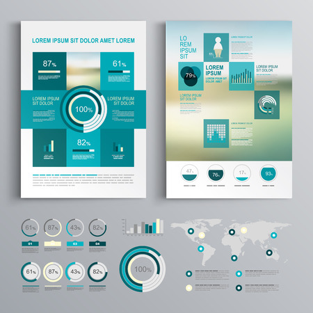 editable: Blue brochure template design with square shapes. Cover layout and infographics