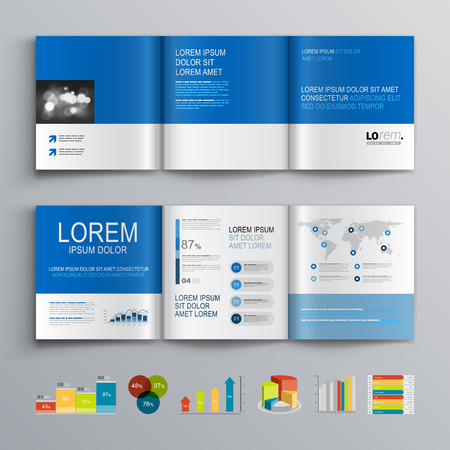 company background: Cleaк brochure template design with color shapes and elements. Cover layout and infographics