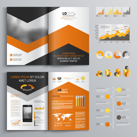 brochure cover: Classic white brochure template design with black and orange arrows. Cover layout and infographics