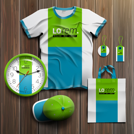 souvenirs: White promotional souvenirs design for corporate identity with blue and green square shapes. Stationery set