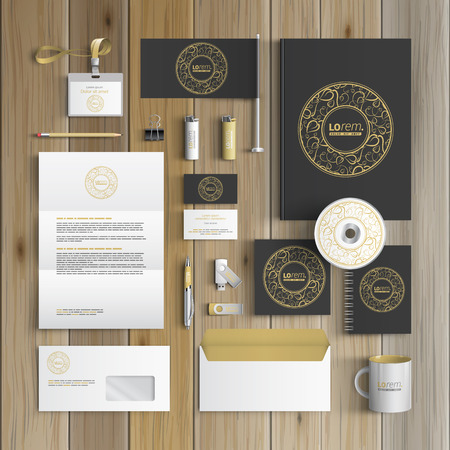 template: Black corporate identity template design with round golden element and floral pattern. Business stationery