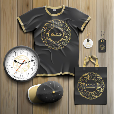 Black promotional souvenirs design for corporate identity with round golden element and floral pattern. Stationery set