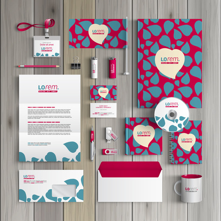 identities: Purple corporate identity template design with blue hearts. Business stationery Illustration