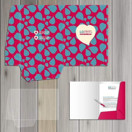 corazones azules: Diseño del modelo de carpeta púrpura de la identidad corporativa con los corazones azules. montaje de papelería Vectores