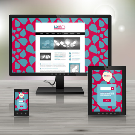 corazones azules: Purple application template design for corporate identity with blue hearts. Stationery set Vectores