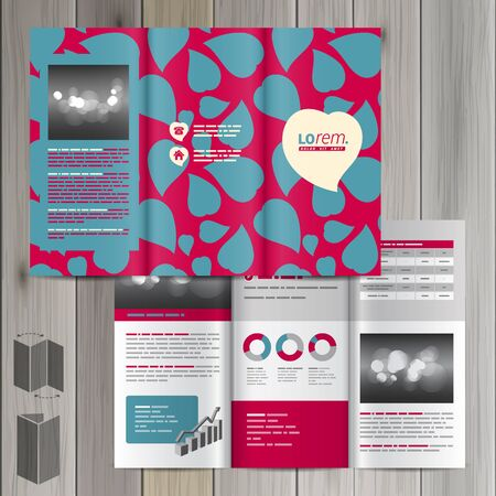 identities: Purple brochure template design with blue hearts. Cover layout