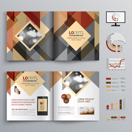 corporate brochure: Brown brochure template design with triangle pattern. Cover layout and infographics