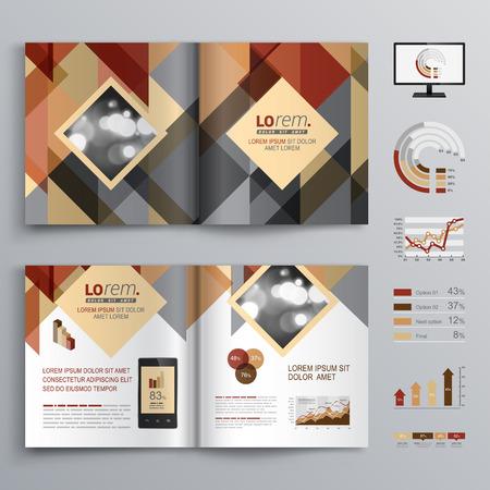 folleto: Diseño del modelo del folleto de Brown con el patrón de triángulo. El diseño de la cubierta y la infografía Vectores
