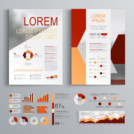 Red Brochure Template Design With Orange Vertical Shapes Cover