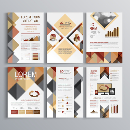 Brown brochure template design with triangle pattern. Cover layout and infographics