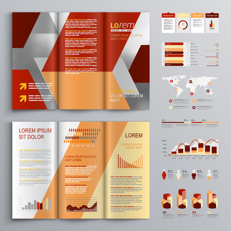 Red Brochure Template Design With Diagonal Shapes Cover Layout