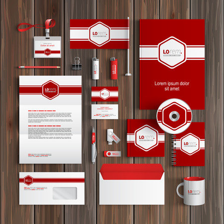 corporate identity template: Red classic corporate identity template design with white central element and horizontal line. Business stationery Illustration