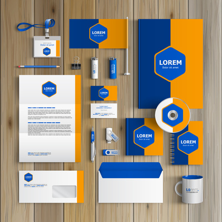 corporate identity template: Classic blue corporate identity template design with central rhombus and orange shape. Business stationery