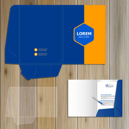 folder: Classic blue folder template design for corporate identity with central rhombus and orange shape. Stationery set